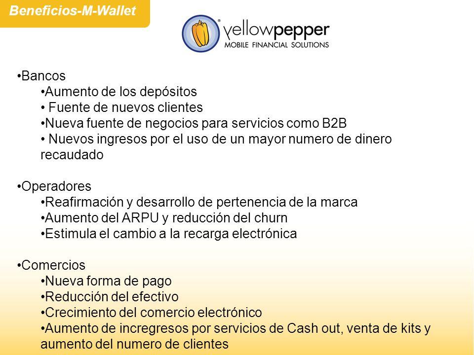 Beneficios-M-Wallet Bancos. Aumento de los depósitos. Fuente de nuevos clientes. Nueva fuente de negocios para servicios como B2B.