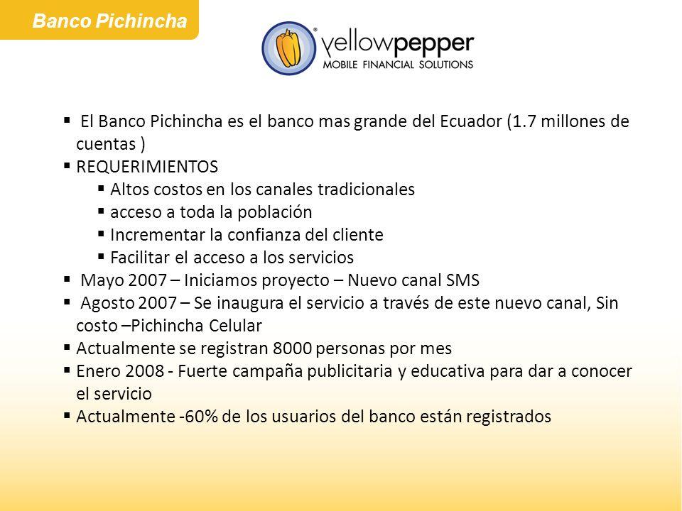 Banco Pichincha El Banco Pichincha es el banco mas grande del Ecuador (1.7 millones de cuentas ) REQUERIMIENTOS.