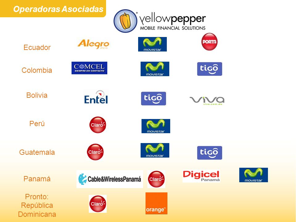 Operadoras Asociadas Ecuador Colombia Bolivia Perú Guatemala Panamá