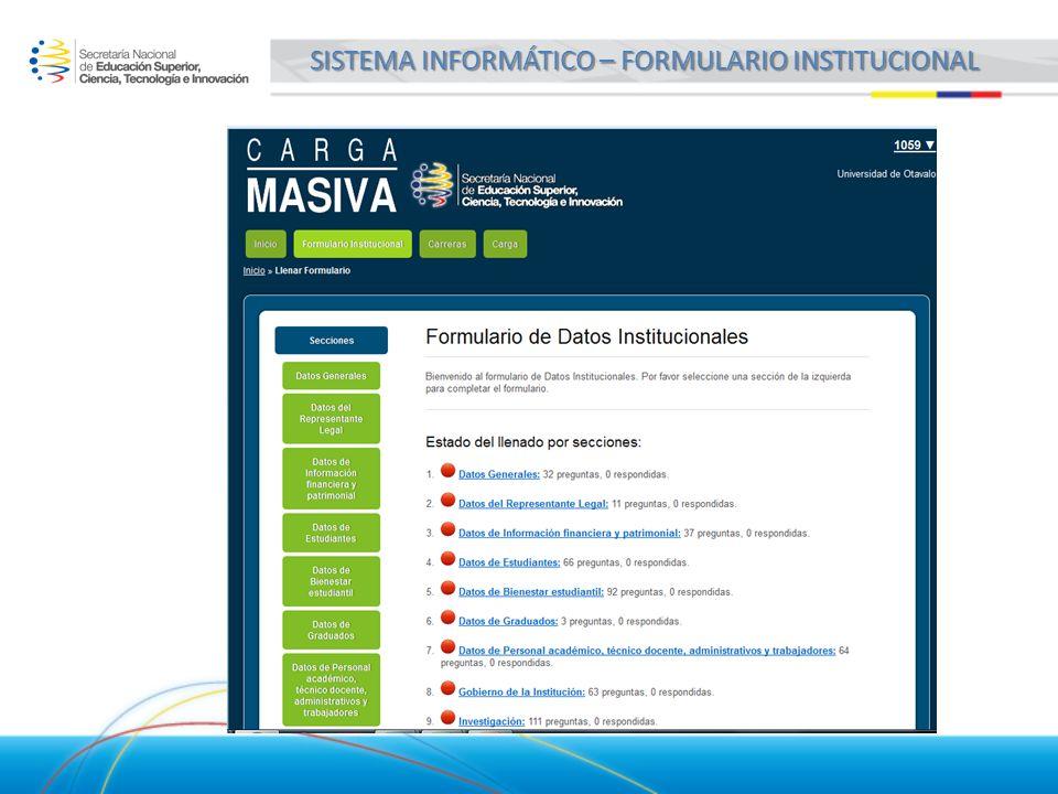 SISTEMA INFORMÁTICO – FORMULARIO INSTITUCIONAL