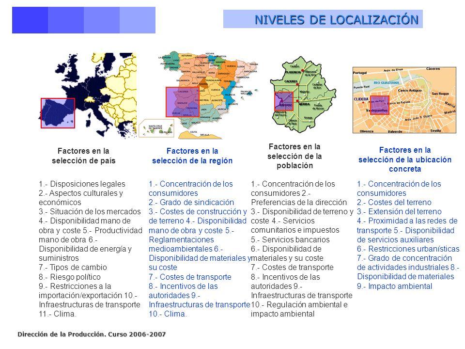 selección de la población selección de la ubicación concreta