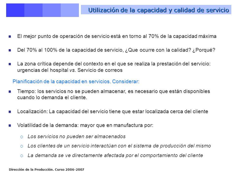 Utilización de la capacidad y calidad de servicio