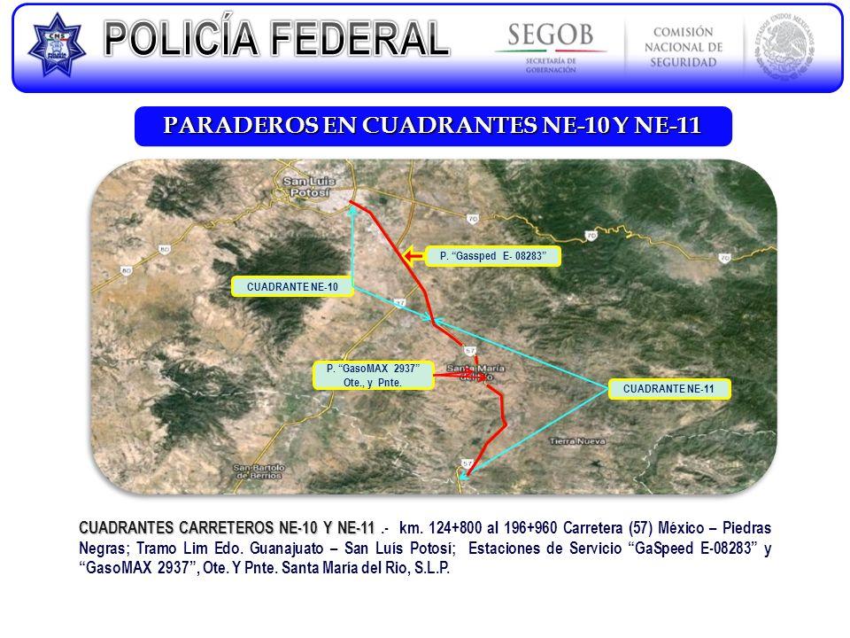 PARADEROS EN CUADRANTES NE-10 Y NE-11