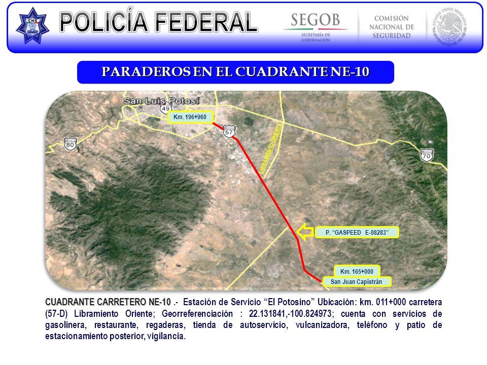 PARADEROS EN EL CUADRANTE NE-10