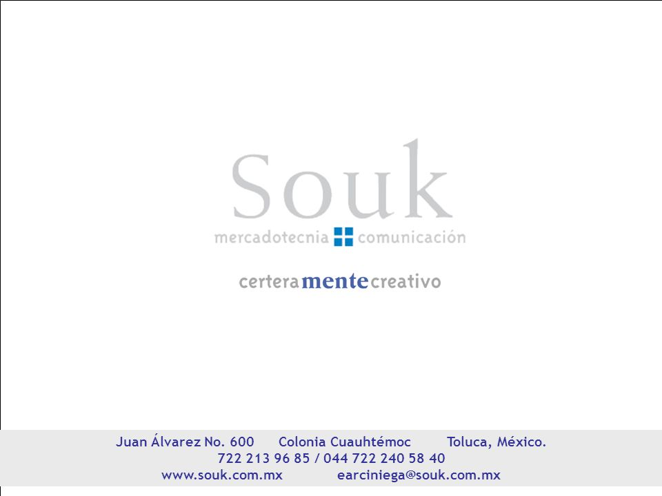Juan Álvarez No. 600 Colonia Cuauhtémoc Toluca, México.