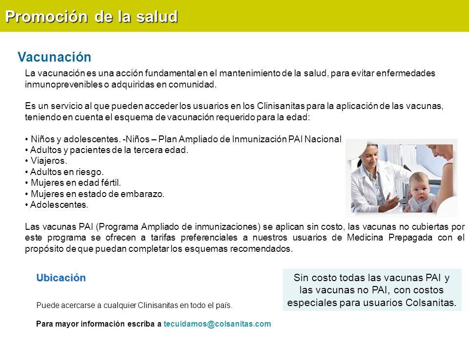 Promoción de la salud Vacunación Ubicación