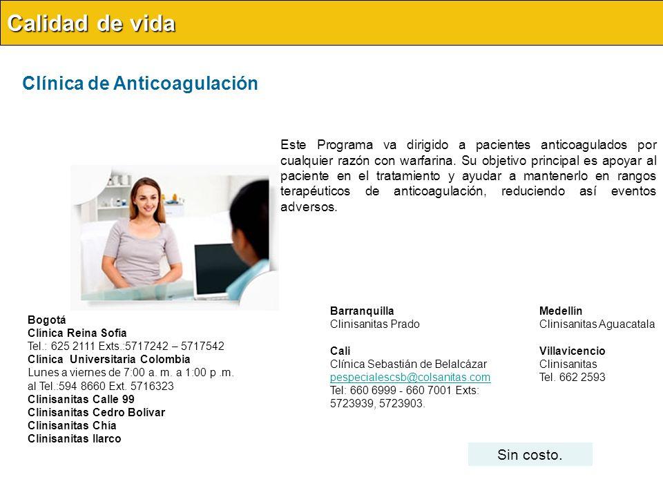 Calidad de vida Clínica de Anticoagulación Sin costo.