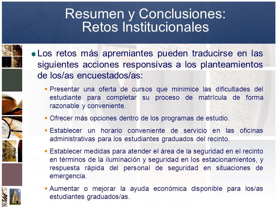 Resumen y Conclusiones: Retos Institucionales