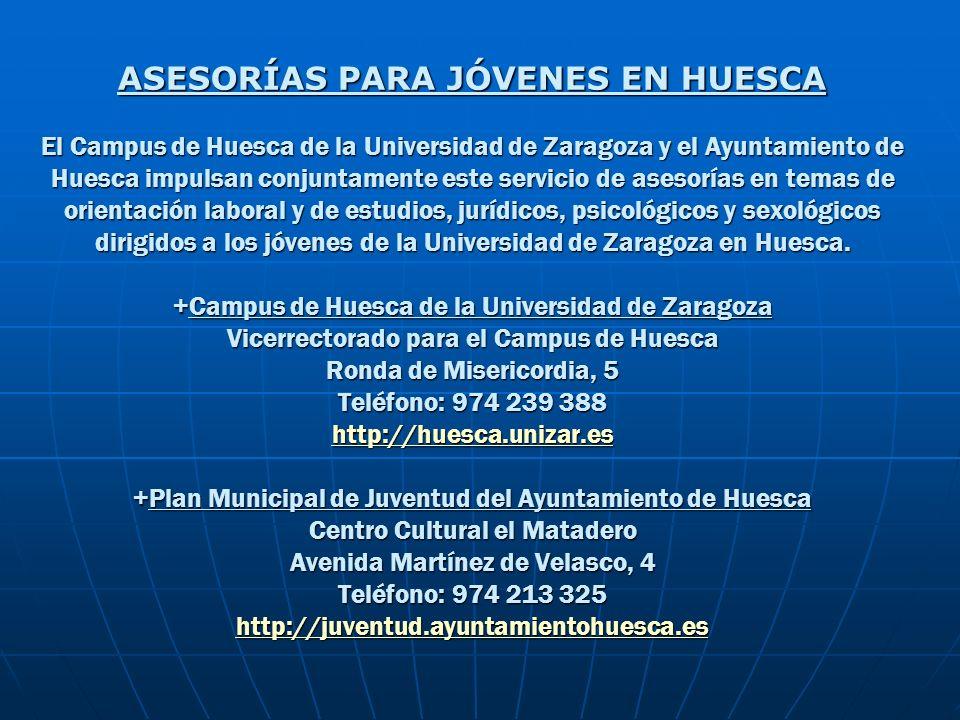 ASESORÍAS PARA JÓVENES EN HUESCA El Campus de Huesca de la Universidad de Zaragoza y el Ayuntamiento de Huesca impulsan conjuntamente este servicio de asesorías en temas de orientación laboral y de estudios, jurídicos, psicológicos y sexológicos dirigidos a los jóvenes de la Universidad de Zaragoza en Huesca.