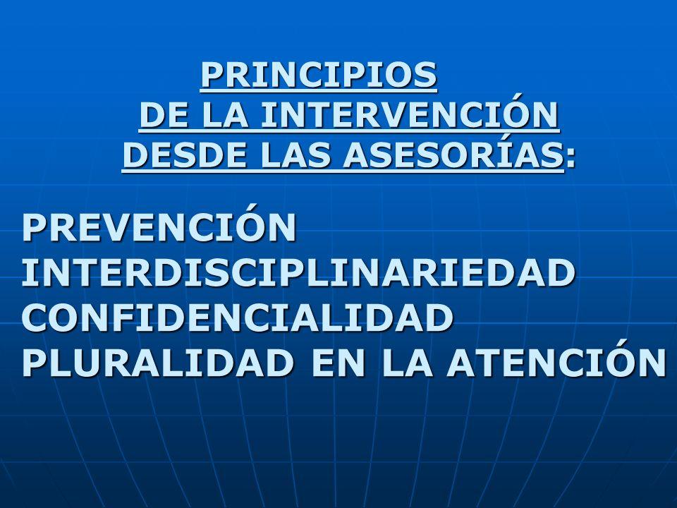 PRINCIPIOS DE LA INTERVENCIÓN DESDE LAS ASESORÍAS: