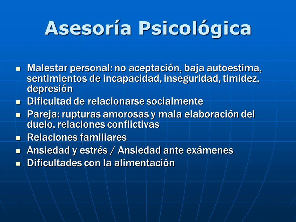 Asesoría Psicológica Malestar personal: no aceptación, baja autoestima, sentimientos de incapacidad, inseguridad, timidez, depresión.