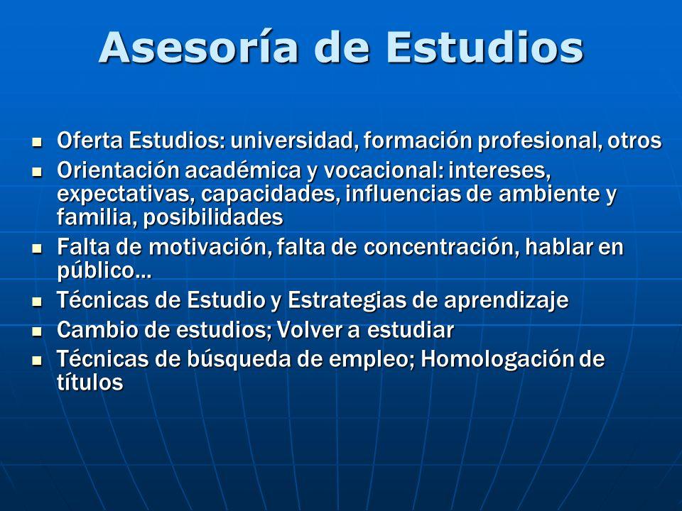 Asesoría de Estudios Oferta Estudios: universidad, formación profesional, otros.