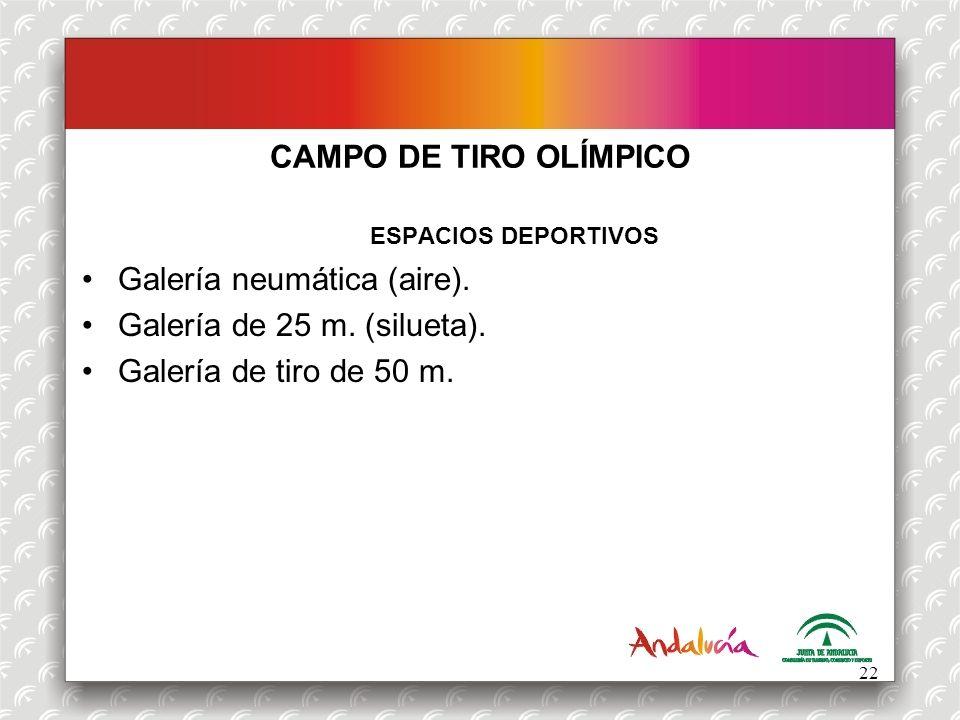 CAMPO DE TIRO OLÍMPICO ESPACIOS DEPORTIVOS Galería neumática (aire). Galería de 25 m. (silueta).