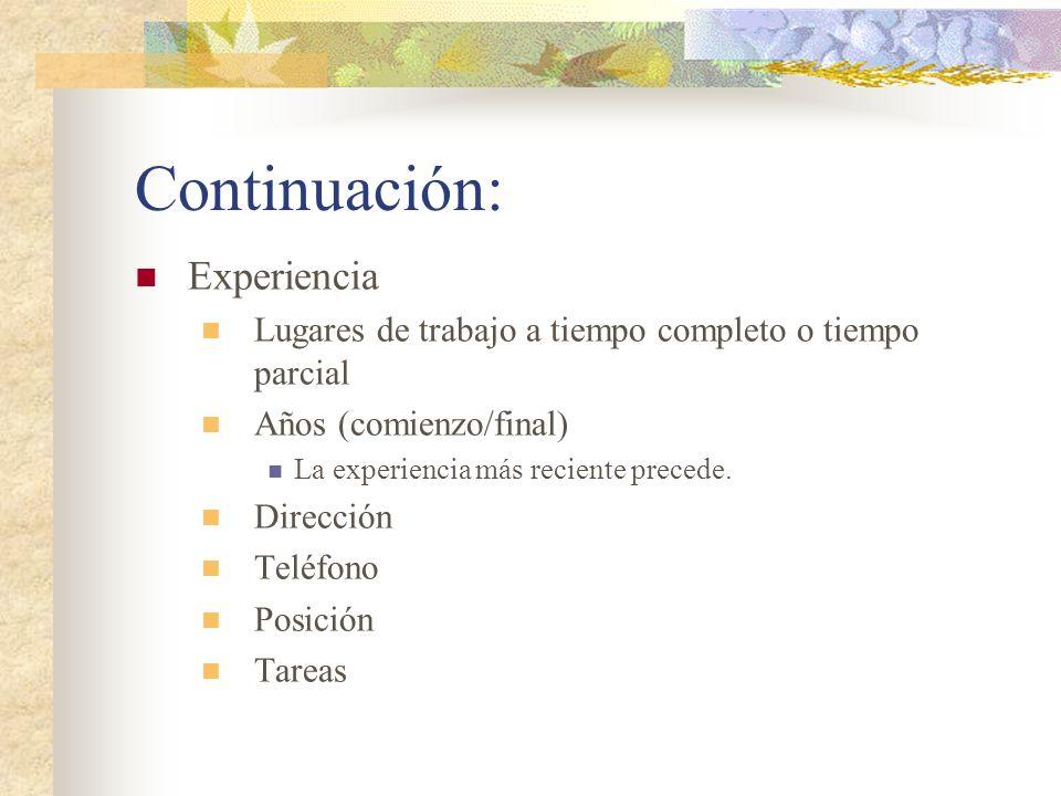 Continuación: Experiencia