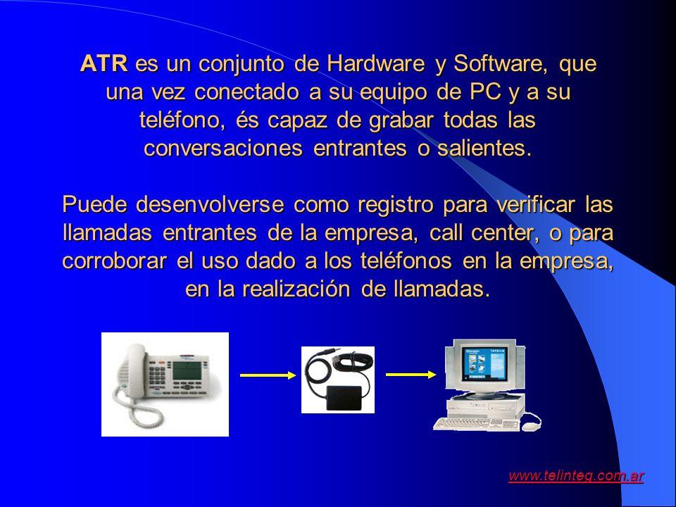 ATR es un conjunto de Hardware y Software, que una vez conectado a su equipo de PC y a su teléfono, és capaz de grabar todas las conversaciones entrantes o salientes.