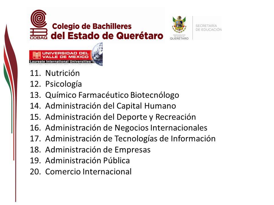 Nutrición Psicología. Químico Farmacéutico Biotecnólogo. Administración del Capital Humano. Administración del Deporte y Recreación.