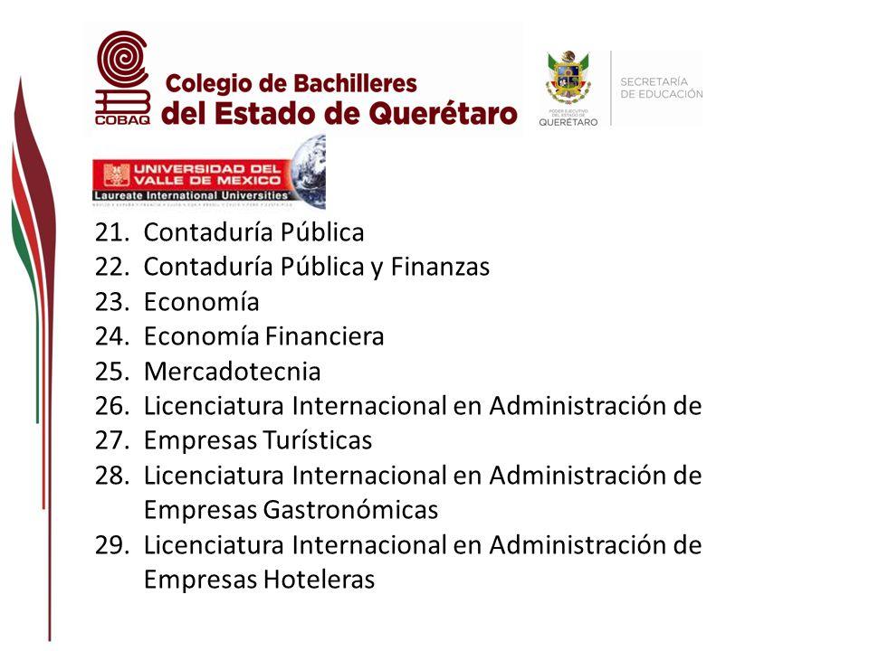 Contaduría Pública Contaduría Pública y Finanzas. Economía. Economía Financiera. Mercadotecnia. Licenciatura Internacional en Administración de.