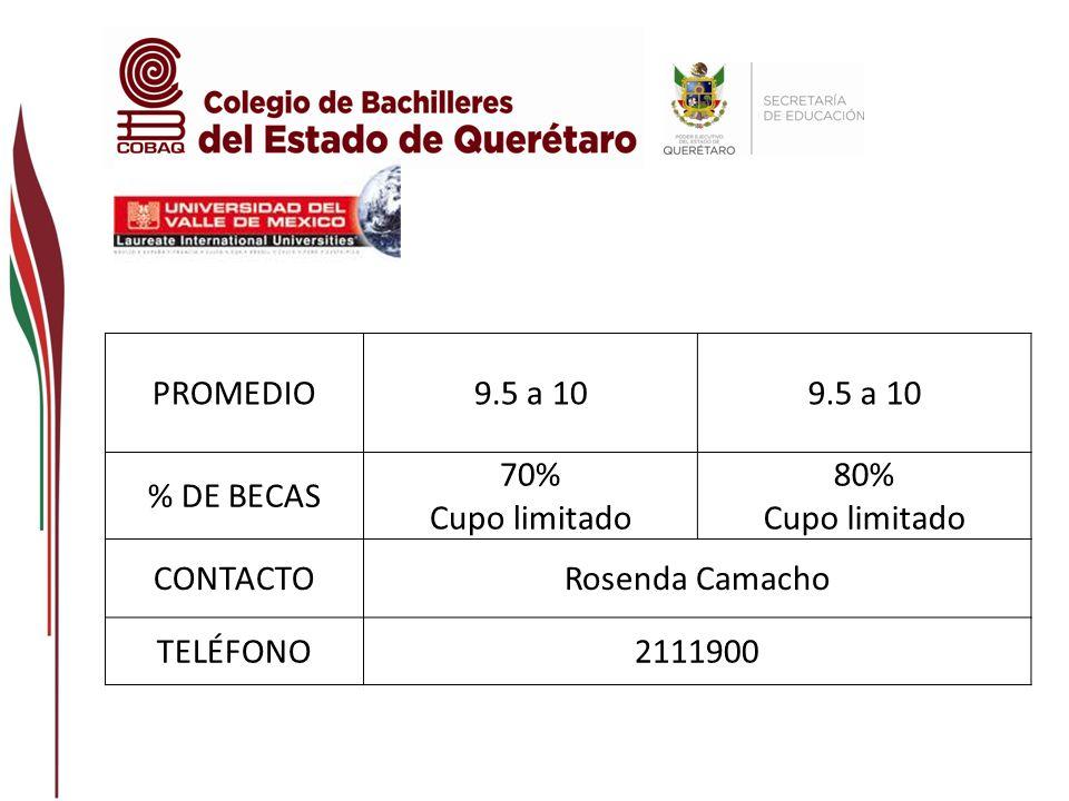 PROMEDIO 9.5 a 10 % DE BECAS 70% Cupo limitado 80% CONTACTO Rosenda Camacho TELÉFONO 2111900