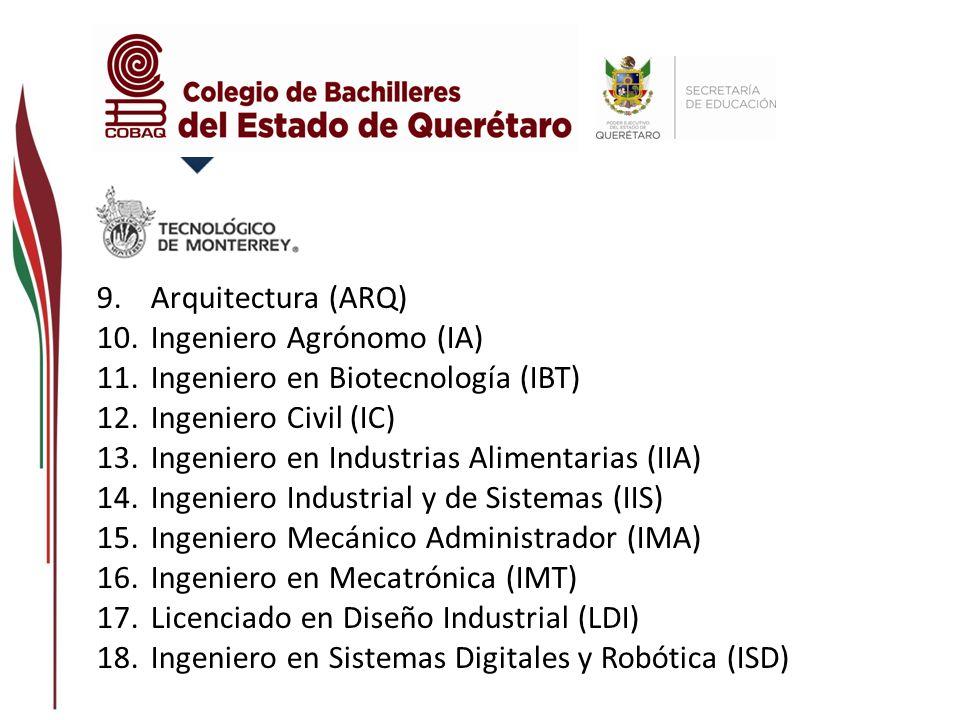 Arquitectura (ARQ) Ingeniero Agrónomo (IA) Ingeniero en Biotecnología (IBT) Ingeniero Civil (IC) Ingeniero en Industrias Alimentarias (IIA)