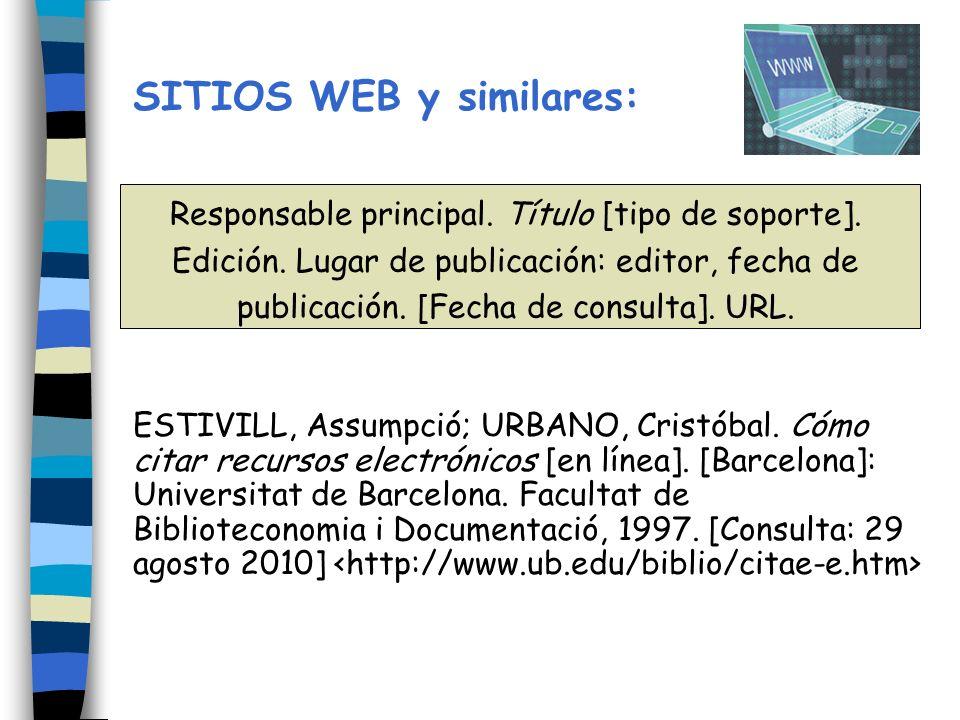 SITIOS WEB y similares:
