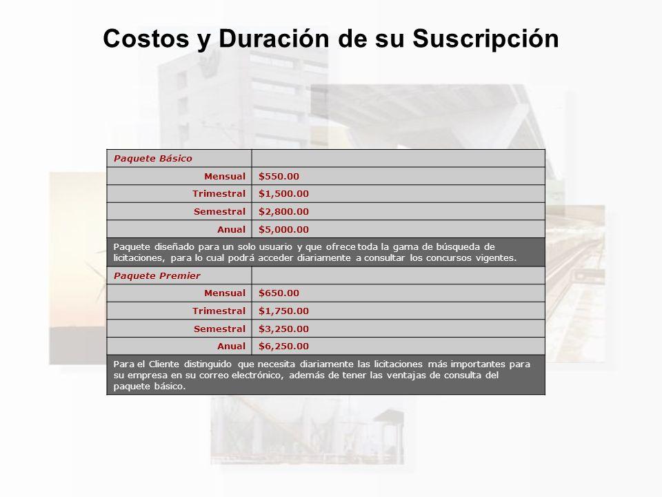 Costos y Duración de su Suscripción