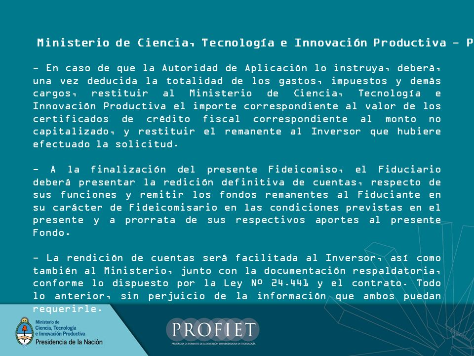 Ministerio de Ciencia, Tecnología e Innovación Productiva - PROFIET