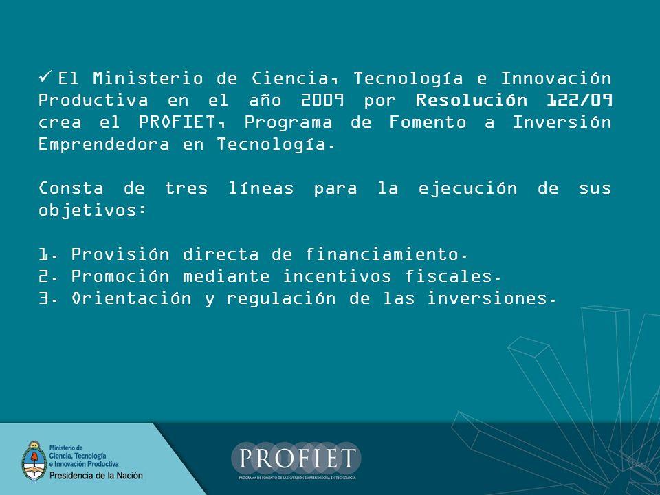 El Ministerio de Ciencia, Tecnología e Innovación Productiva en el año 2009 por Resolución 122/09 crea el PROFIET, Programa de Fomento a Inversión Emprendedora en Tecnología.