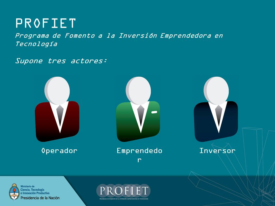 PROFIET Supone tres actores: Operador Emprendedor Inversor