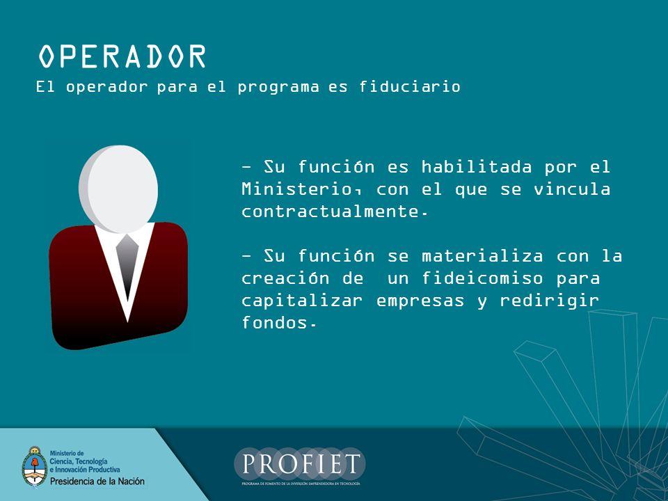 OPERADOR El operador para el programa es fiduciario. - Su función es habilitada por el Ministerio, con el que se vincula contractualmente.