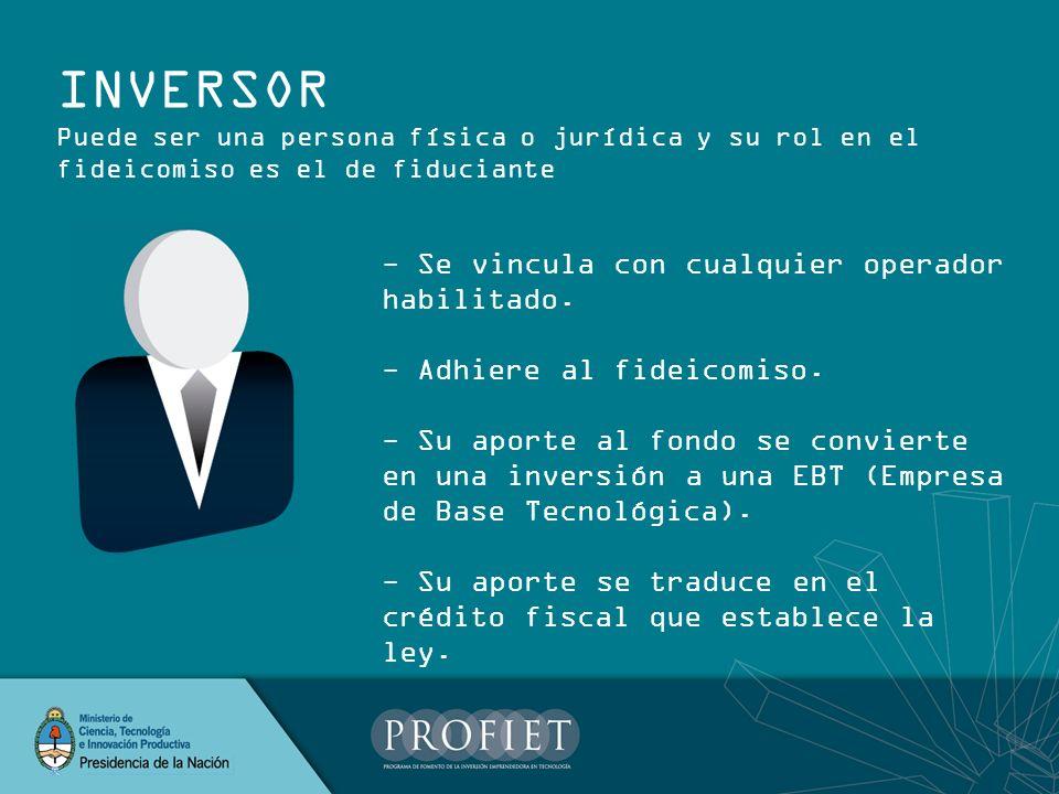INVERSOR - Se vincula con cualquier operador habilitado.