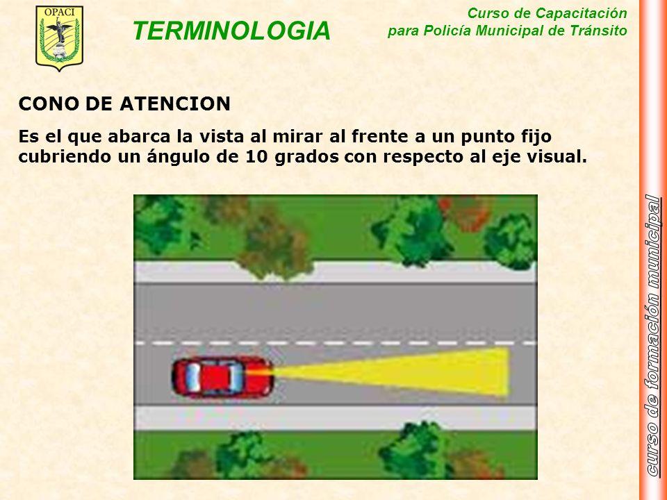 CONO DE ATENCIONEs el que abarca la vista al mirar al frente a un punto fijo cubriendo un ángulo de 10 grados con respecto al eje visual.