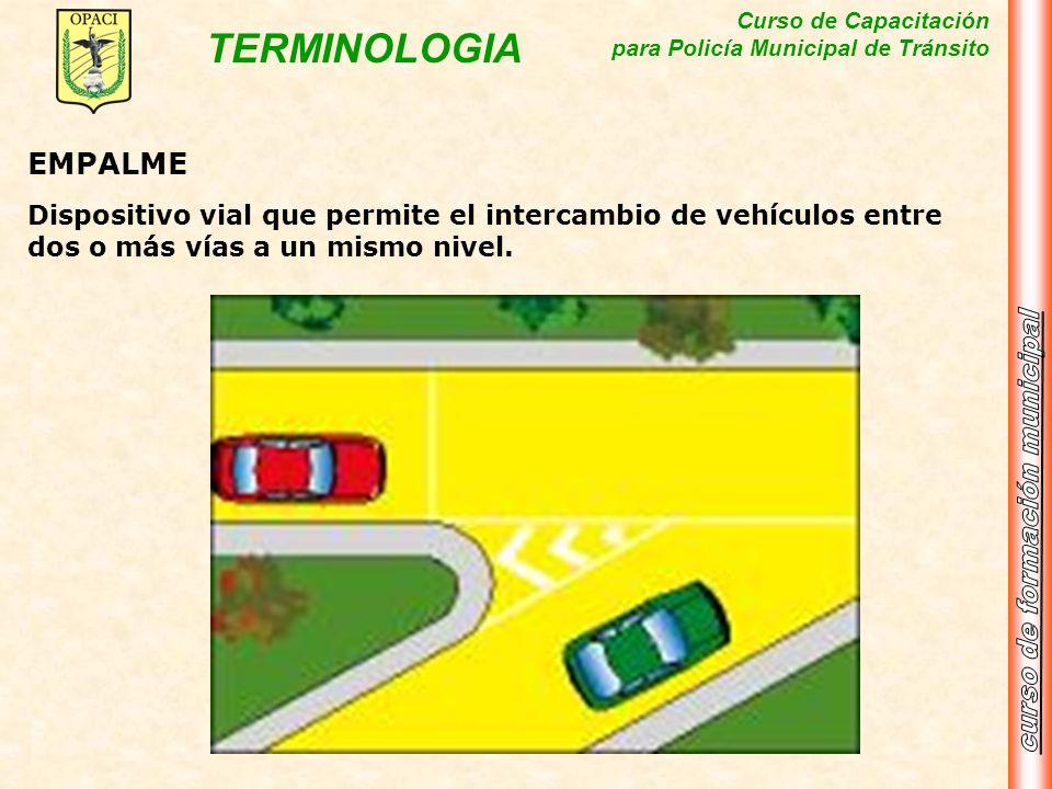 EMPALMEDispositivo vial que permite el intercambio de vehículos entre dos o más vías a un mismo nivel.