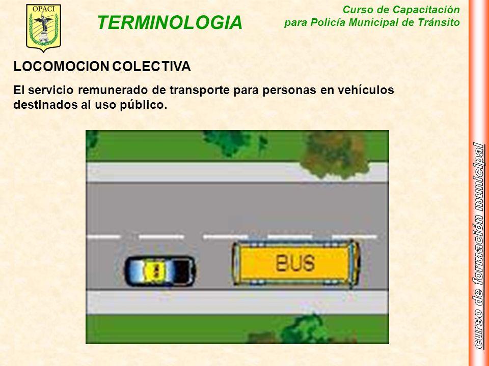 LOCOMOCION COLECTIVAEl servicio remunerado de transporte para personas en vehículos destinados al uso público.