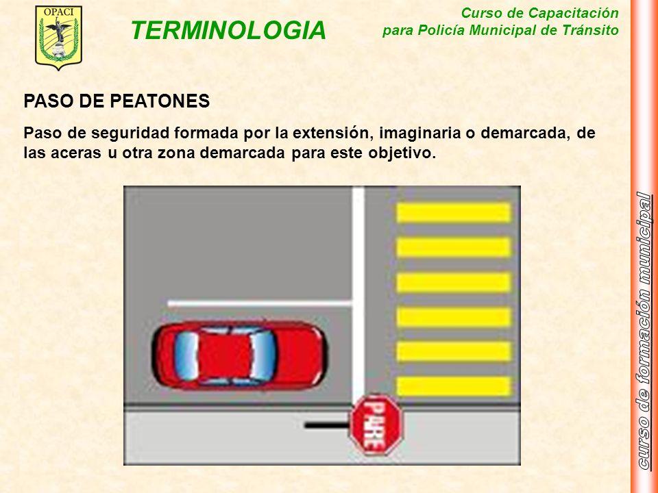 PASO DE PEATONESPaso de seguridad formada por la extensión, imaginaria o demarcada, de las aceras u otra zona demarcada para este objetivo.