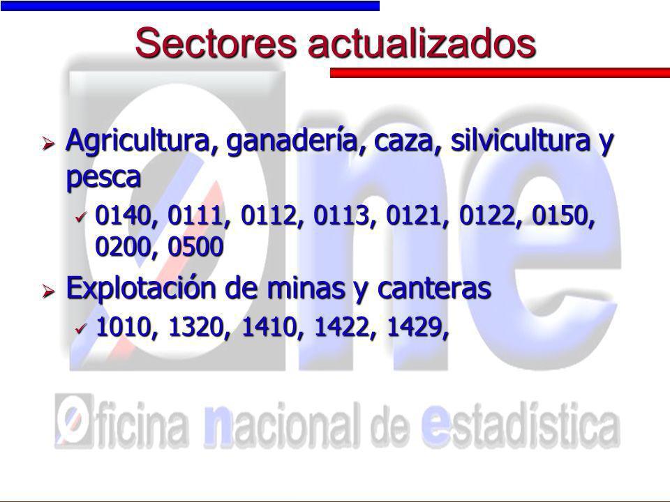 Sectores actualizados
