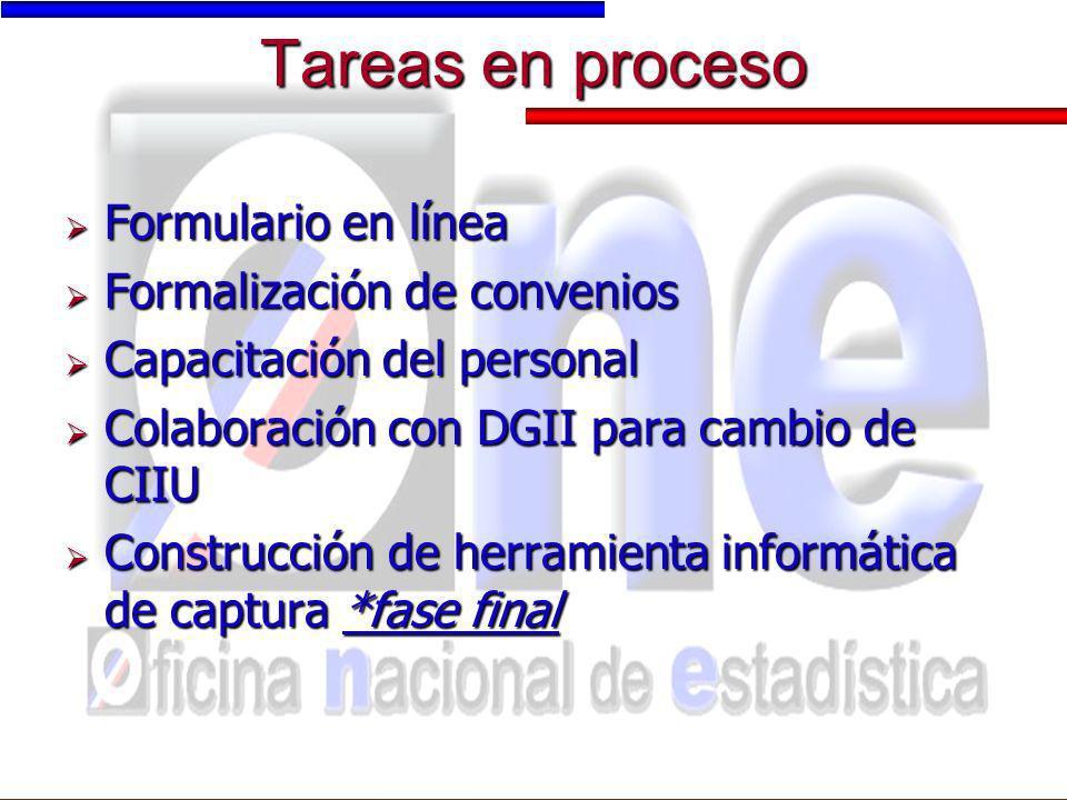 Tareas en proceso Formulario en línea Formalización de convenios