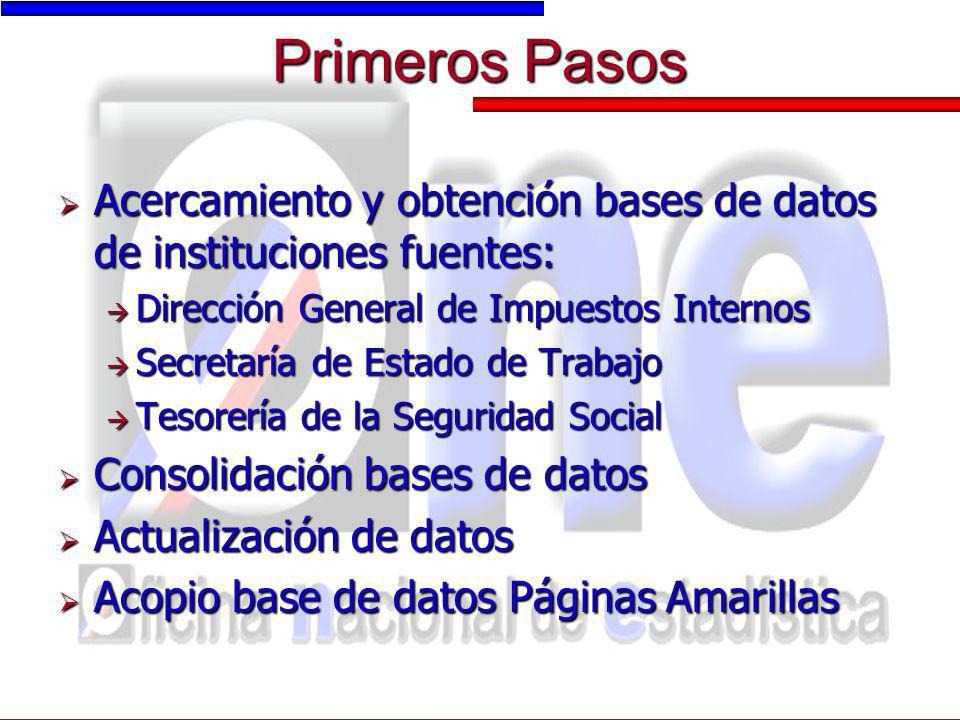 Primeros Pasos Acercamiento y obtención bases de datos de instituciones fuentes: Dirección General de Impuestos Internos.