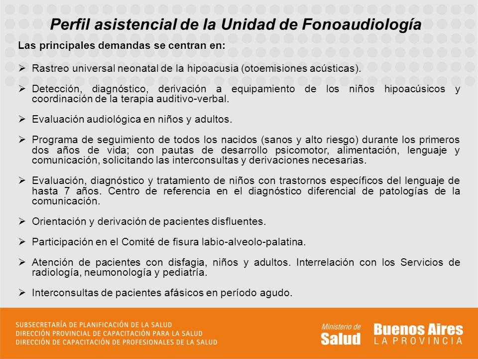 Perfil asistencial de la Unidad de Fonoaudiología