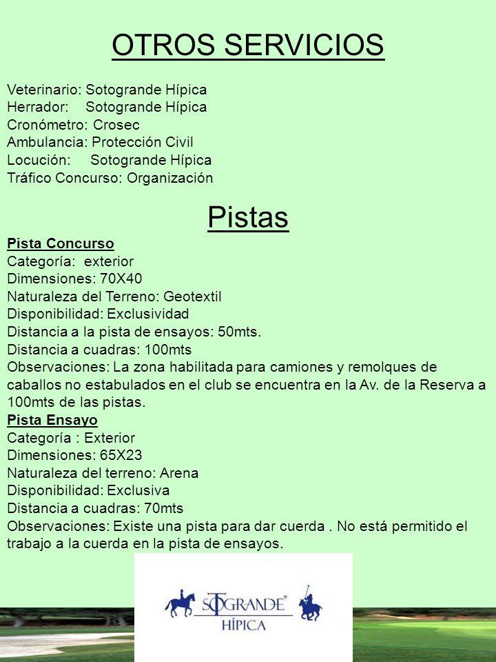 OTROS SERVICIOS Pistas Veterinario: Sotogrande Hípica