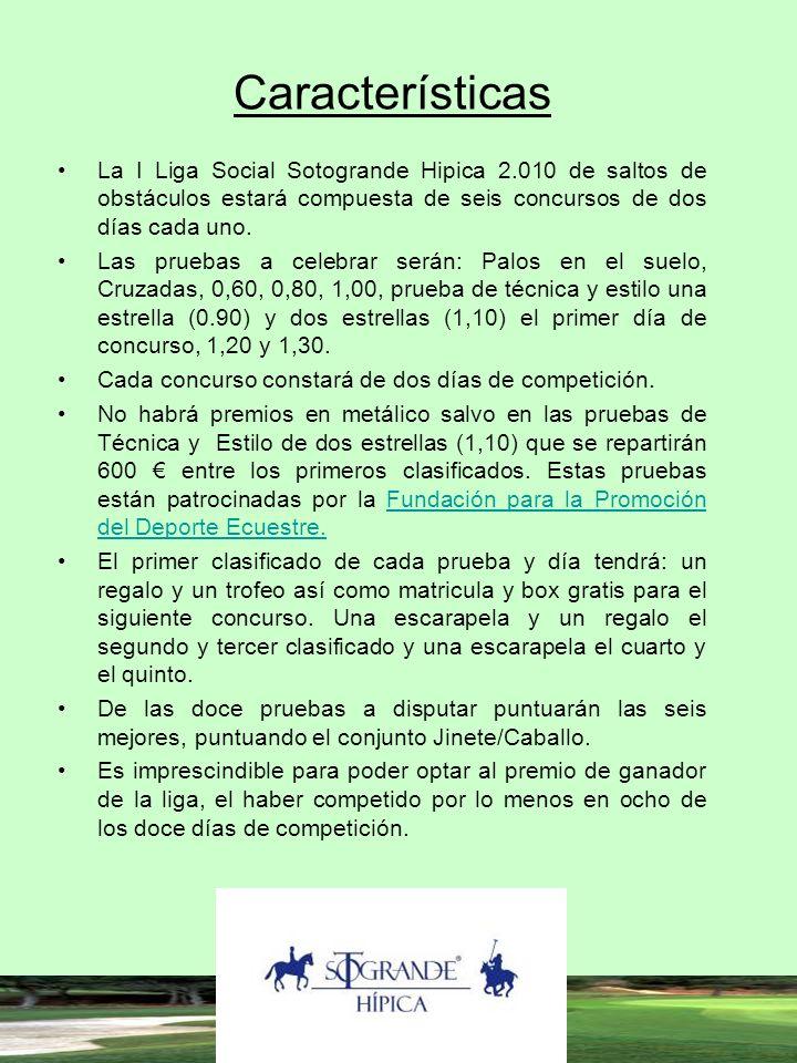 Características La I Liga Social Sotogrande Hipica 2.010 de saltos de obstáculos estará compuesta de seis concursos de dos días cada uno.
