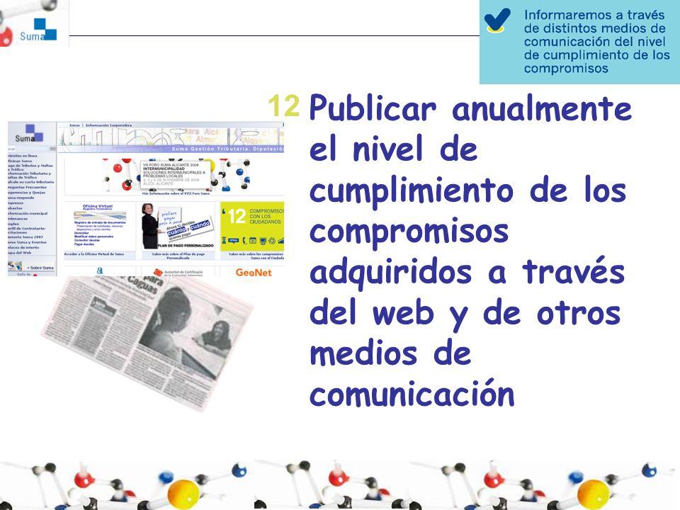 12 Publicar anualmente el nivel de cumplimiento de los compromisos adquiridos a través del web y de otros medios de comunicación.
