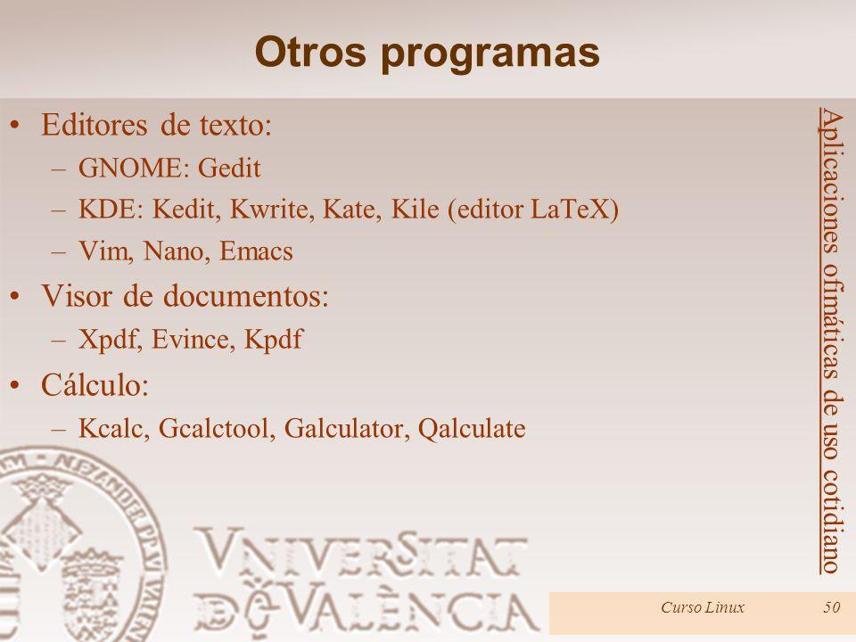 Otros programas Editores de texto: Visor de documentos: Cálculo: