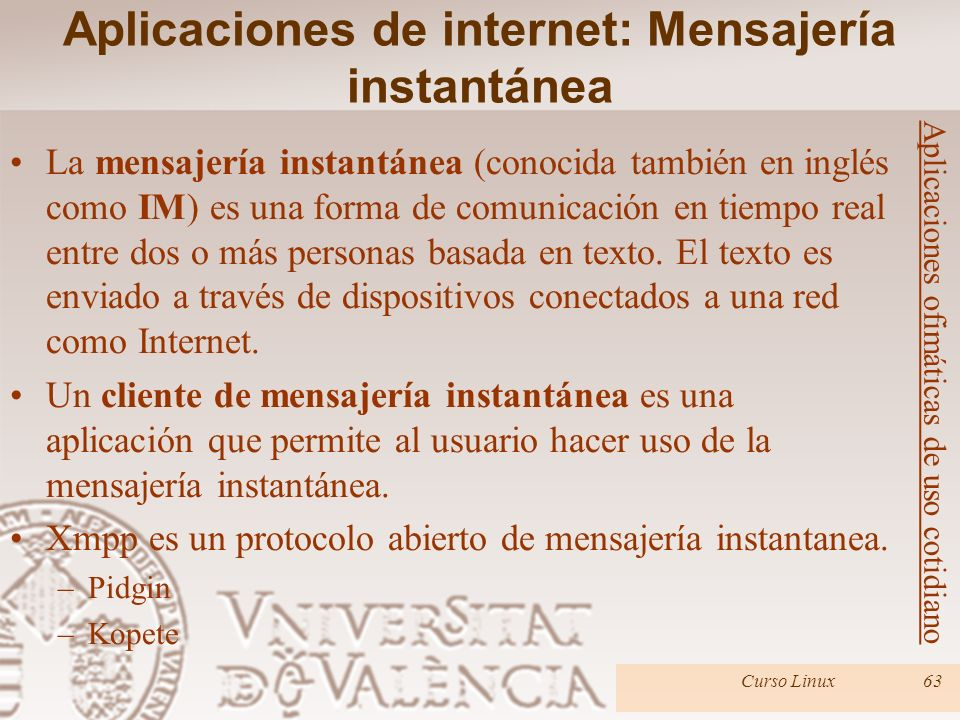 Aplicaciones de internet: Mensajería instantánea