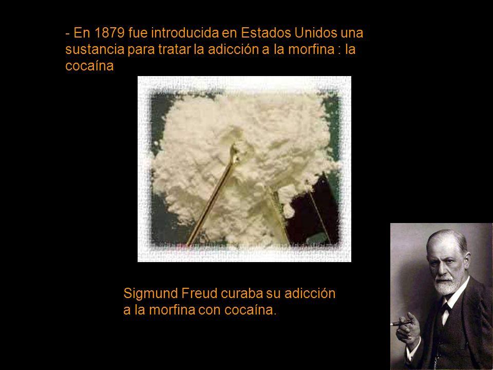 - En 1879 fue introducida en Estados Unidos una sustancia para tratar la adicción a la morfina : la cocaína
