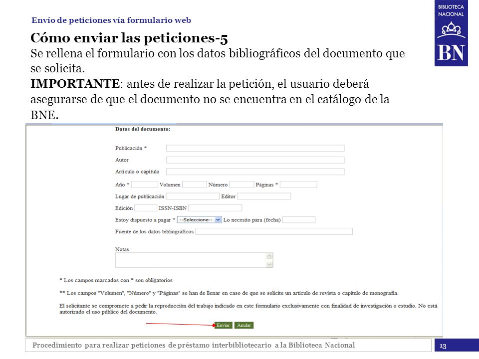 Envío de peticiones vía formulario web