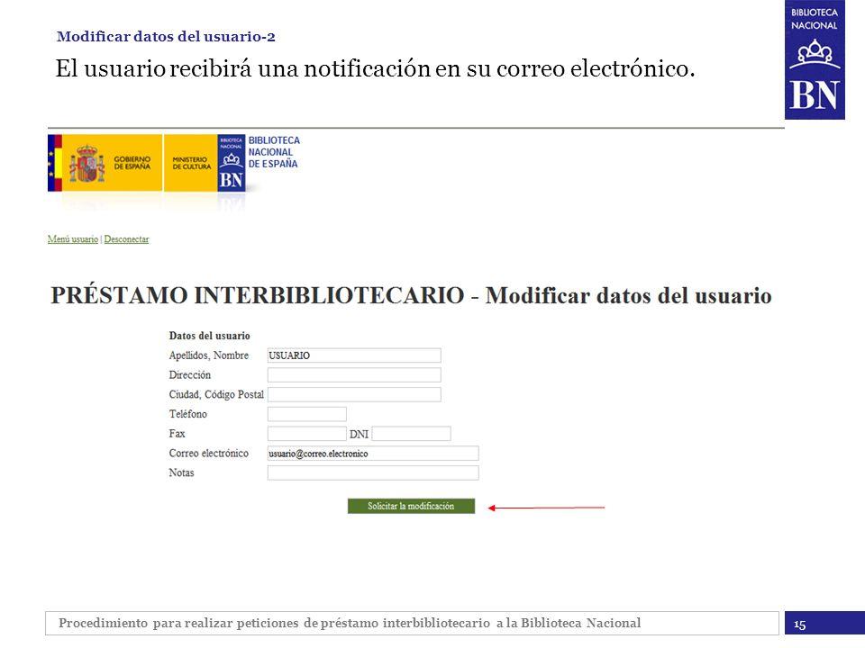El usuario recibirá una notificación en su correo electrónico.