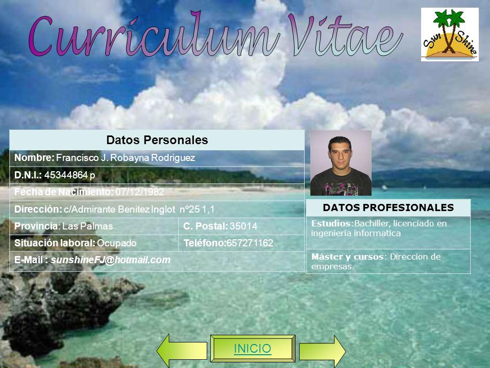 Curriculum Vitae Datos Personales INICIO