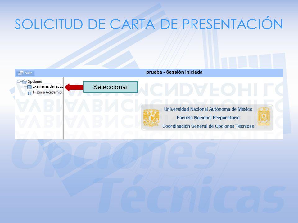 SOLICITUD DE CARTA DE PRESENTACIÓN