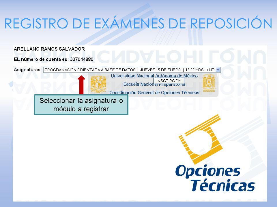 REGISTRO DE EXÁMENES DE REPOSICIÓN