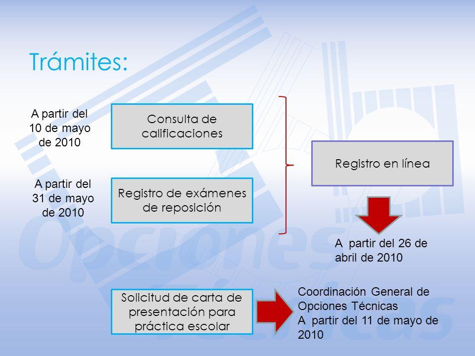 Trámites: A partir del 10 de mayo de 2010 Consulta de calificaciones